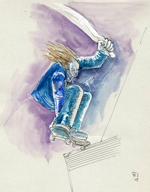 aquarelle guerrier cheveux longs sur skateboard avec epee, david bulle, dessin, illustration, phylacteres